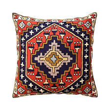 "Navajo Tribal Kilim Aztec Red Navy II Pillow Cover Handembroidered Wool 18""x18"""
