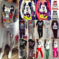 2pcs Womens Mickey Minnie Mouse Tracksuits Hoodies Sweatshirts Pants Sportwear