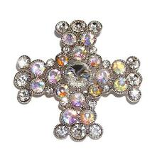 BROOCH/PIN/PENDANT Clear & AB Iridescent Rhinestones DAZZLING CELTIC CROSS