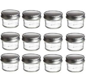 Nakpunar 12 pcs 4 oz Mason Glass Jars 4 oz with One Piece Silver Plastisol Lined