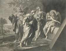 """Antique French Engraving, """"Holy Women at the Tomb of Christ"""", by Etienne Gantrel"""