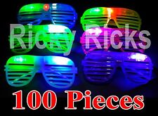 100 LED Shutter Glasses Light Up Shades Flashing Rave Wedding Rock Party