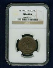 MEXICO REPUBLIC 1897  1 CENTAVO COIN CERTIFIED CHOICE UNCIRCULATED NGC MS64-BN