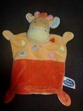 doudou plat girafe orange et jaune MOTS D'ENFANTS