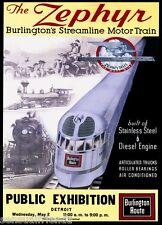 Burlington Zephyr CBQ Train Poster Train 1st Streamliner Rare Detroit