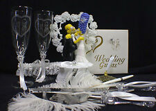 O Homer Marge Simpsons wedding Cake topper LOT Glasses