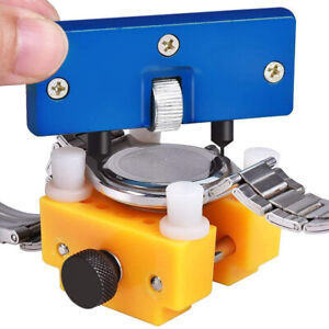 Watch Case Back Opener Adjustable Remover Screw Wrench and Watch Holder Tool