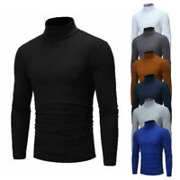 Men Winter Sweater Turtleneck Cable Knit Tops Stretchy Blouse Pullover Casual US