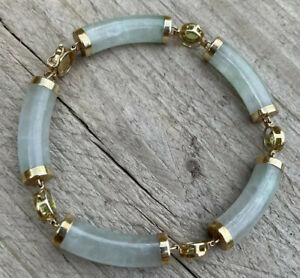 9ct Gold Large Natural Jade And Peridot Bracelet Heavy 17.6g
