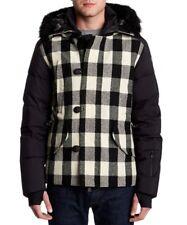 Moncler  Black Grenoble Montrond Plaid Fur Down Coat Giubbotto  size 3=US Large