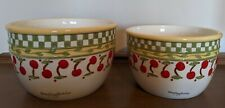 2 Vintage 1998 Mary Engelbreit Enesco Ceramic Cherry Cherries Jubilee Mix Bowls