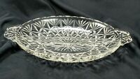 Vintage Collectible Anchor Hocking Pressed Glass Divided Oval Relish Dish MCM