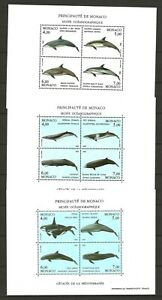 Monaco 1992/94 Fauna Wildlife Marinelife Fisch Fish Whale 3 compl. MS MNH