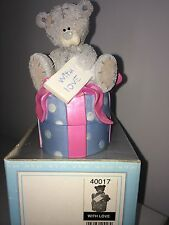 "LARGE 5"" HIGH BOXED ME TO YOU FIGURINE TRINKET BOX TATTY TEDDY BEAR ~ WITH LOVE"