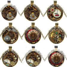 Steampunk Kompass Uhr Glas Cabochon Kette Anhänger Halskette Gänge Zahnrad