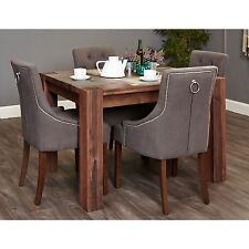 Shiro solid dark wood furniture small dining table and four luxury chairs set