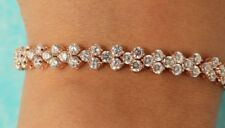 Women's 18K Rose Gold Toned 5 CT Round Cut Diamond Tennis Bracelet 7 inch