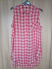 George Womens Red/White Checked Tunic Top Beach Cover Up Size 10