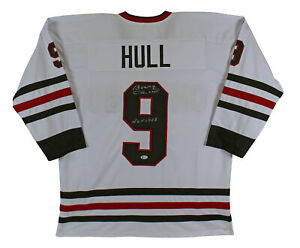 """Bobby Hull """"HOF 1983"""" Authentic Signed White Pro Style Jersey Autographed BAS"""