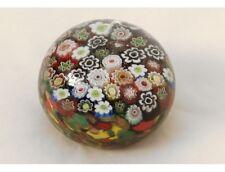 Sulfure presse-papier cristal millefiori Murano Italie Venise fleurs XXème