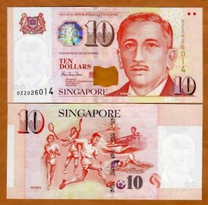 Singapore, 10 Dollars, ND (1999), P-40, UNC >  0ZZ REPLACEMENT