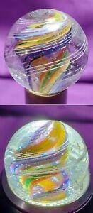 "Gorgeous Handmade Rainbow Divided Core German Latticinio Marbles NM .77"""
