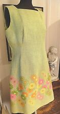 Womans VTG Sleeveless Linen Dress Pale Green Embroidered Flowers Alison Ayres