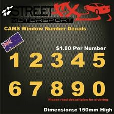 CAMS Window Number Decals Single Number Drift Race Car Rally