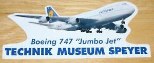 Lufthansa (Germany) Boeing 747 Speyer Museum Airline Sticker