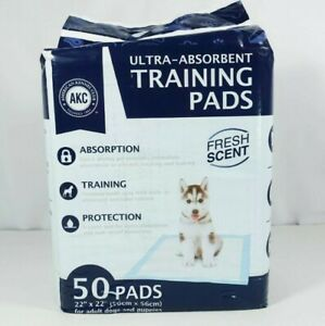 """NEW AKC ULTRA ABSORBENT FRESH SCENT DOG / PUPPY 50 COUNT TRAINING PADS 22"""" X 22"""""""