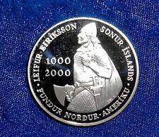 Iceland 2000 silver 1000 kronur Leif Ericsson proof