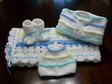 NEW Handmade Crochet Baby Blanket Afghan set ( white blue yellow green )