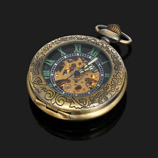 Magnifier Glass Front Case Bronze Color Skeleton Mens Automatic Pocket Watch