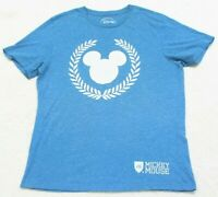 Disney Mickey Mouse Blue Cotton Poly Crewneck Tee T-Shirt Top Short Sleeve Mans