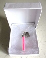 Pink Fairy Angel Dust Wishes Bottle & Love Heart Pendant Silver Plated Necklace
