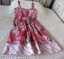 Short floral cotton dress by MANTARAY Size 10 Raspberry red grey & multi