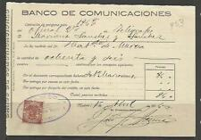 Q53-DOCUMENTO 1916, SELLO FISCAL BANCO DE COMUNICACIONES MURCIA Y MADRID