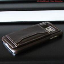 SAMSUNG GALAXY S6 BROWN LEATHER HARD BACK CASE COVER CARD HOLDER NEW BADBOY