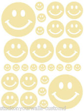 56 PALE YELLOW SMILEY FACE SHAPED VINYL DECAL STICKER TEEN BABY NURSERY BEDROOM