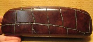 NEW Lauren Hutton AFRICA Crocodile Pattern Real Leather Eyeglass Hard Clam Case