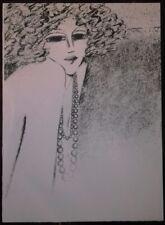 Jean Pierre Cassigneul : Lithographie Originale. Elégante au collier