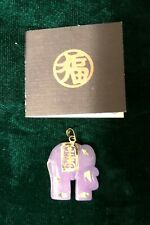 Lavender Jadeite Elephant With 14K Gold Clasp And Accents