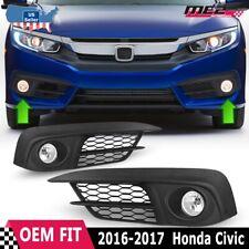For 2016-2017 Honda Civic PAIR OE Factory Fit Fog Light Bumper Kit Clear Lens