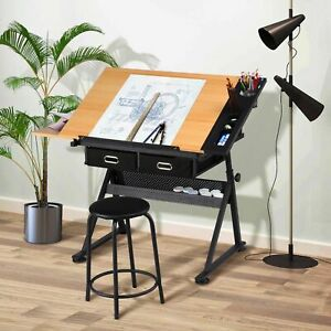 118CM Drawing Desk with Stool & 2 Drawers Tiltable ART Writing Table Home Office