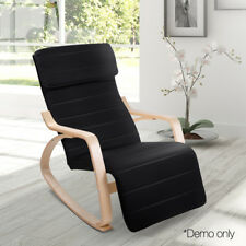Birch Plywood Adjustable Rocking Lounge Arm Chair Recliner 100% Cotton Fabric