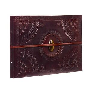 Indra FairTrade Medium Stoned Embossed Leather Photo Album Scrapbook 2nd Quality