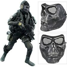 New Military Skull Airsoft Paintball Bb Gun Full Face Protect Mask Black