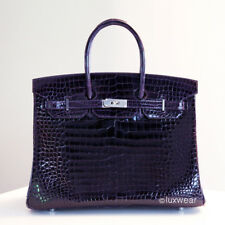 NEW AUTHENTIC HERMES BIRKIN BAG  AMETHYSTE Croc with silver 35cm