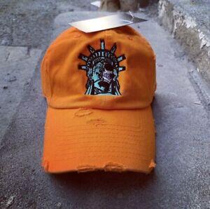 Orange Distressed Statue Of Lit-Berty Dad Cap Hat