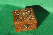 A HIGHLY DECORATED SQUARE CARVED HINGED WOOD BOX  IN HARDWOOD  #3